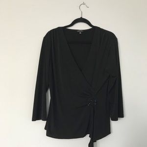 Nine West Stretchy Fancy Crossover Black Blouse